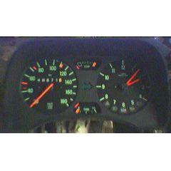 Armaturen Einsatz Audi 50 / VW Polo / Derby * 86 Display grün 180 km/h / Tacho / Tank Anzeige / Temperatur Anz
