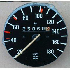 Armaturen Einsatz Audi 50 / VW Polo / Derby * 86 Tacho 180 Display weiß - VAG VW / Audi 9.73 - 8.81 - Kombi In