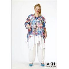 AKH Fashion Lagenlook Shirt Chiffon überweit