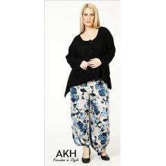 Lagenlook Hose Blumen blau beige AKH Fashion