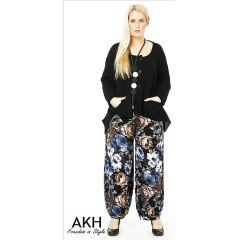 Lagenlook Hose Blumen blau braun AKH Fashion