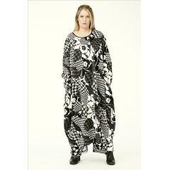 Lagenlook Kleid schwarz weiß Punkte AKH Fashion