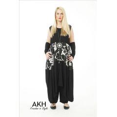 AKH Fashion Lagenlook Kleid mit Leinen