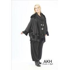 AKH Fashion Lagenlook Poncho mit Samt
