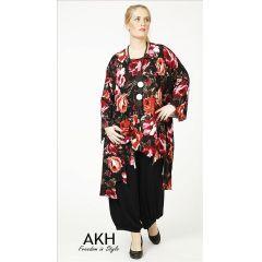 Lagenlook Tunika dunkelrot gezackt AKH Fashion