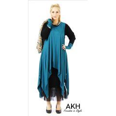 Lagenlook Tunika petrol XL XXL AKH Fashion