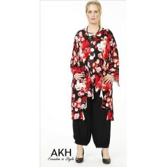 Lagenlook Tunika rot gezackt AKH Fashion