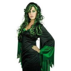 Perücke - Sumpfhexe - schwarz mit grünen Strähnen