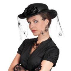 Hut Hexe Witwe mit Spinnen (Erwachsene) - Karneval Fasching Halloween