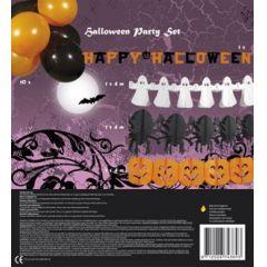 Halloween Deko Set - 4 Girlanden + 10 Ballons