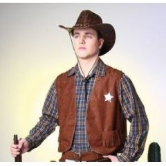 Weste - Cowboy-Weste braun - Gr. 56/58 mit Stern - SONDERPREIS