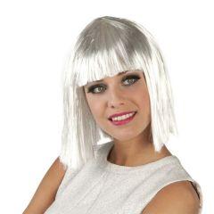Perücke - Damenperücke - Gigi glamour weiß mit silber Lametta Strähnen