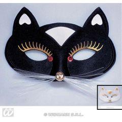 Maske - Augenmaske Katze - schwarz oder weiß - Karneval Fasching
