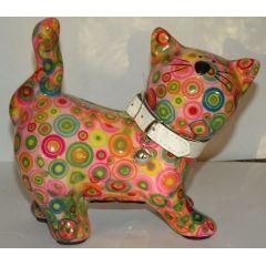 Pomme-Pidou Katze stehend, rosa mit Kreise, Spardose