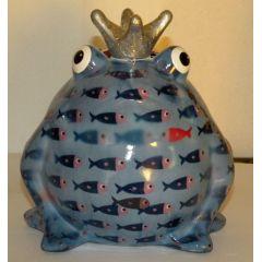 Pomme-Pidou Frosch hellblau mit Fische, Spardose