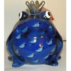 Pomme-Pidou Frosch dunkelblau mit Vogel, Spardose