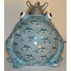 Pomme-Pidou Frosch hellblau mit Delfine, Spardose