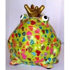 Pomme-Pidou Frosch grün mit kleinen Herzen, Spardose