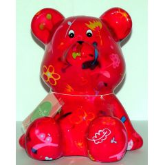 Pomme-Pidou Bär sitzend, rot mit Blumen, Spardose