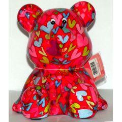 Pomme-Pidou Bär sitzend, rot mit Herzen, Spardose