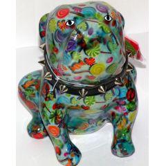 Pomme Pidou Bulldogge blau mit Bonbons, Hund Lizzy, Spardose