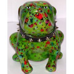 Pomme Pidou Bulldogge grün mit Marienkäfer, Hund Lizzy, Spardose
