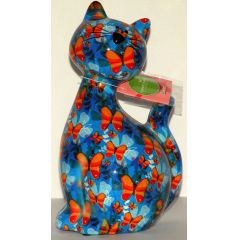 Pomme-Pidou Katze Caramel sitzend, blau mit Schmetterlinge, Spardose