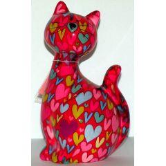 Pomme-Pidou Katze Caramel sitzend, rot mit Herzen, Spardose