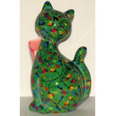 Pomme-Pidou Katze Caramel sitzend, grün mit Vögel, Spardose