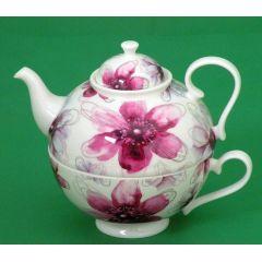 Jameson und Tailor, Tea for One Dekor Blüten Pink, Brillantporzellan,
