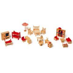 Puppenmöbel Set komplett  22 Teile Wohnzimmer, Kinderzimmer, Büro, Garten