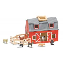 Pferdestall Bauernhof zum Mitnehmen klappbar bunt Tiere Holzspielzeug