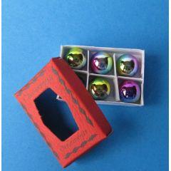 Miniatur Weihnachtskugeln 6 Stück im Karton weihnachtliche Dekoration im Puppenhaus