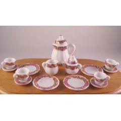 Kaffeeservice Porzellan Rosendekor 17 Teile für Puppenhaus Miniatur 1:12