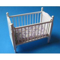 Kinderbett Puppenbett weiss mit Matratze Puppenhausmöbel 1:12 Miniatur