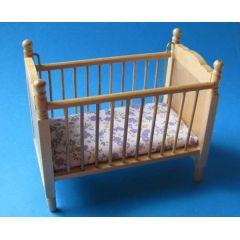 Kinderbett Puppenbett Eiche hell mit Matratze Puppenhausmöbel 1:12 Miniatur