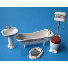 Badezimmer Rose  Porzellan Ausstattung 4 Teile  Puppenmöbel 1:12