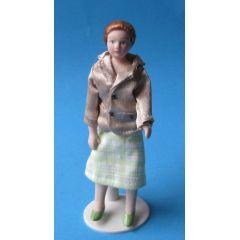 Dame im eleganten Kostüm Puppe für die Puppenstube Miniatur 1:12