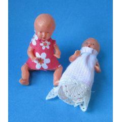 Baby Puppen Paar 5 cm für die Puppenstube  Miniaturen