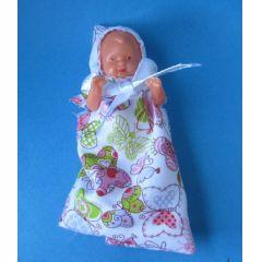 Baby Puppe im Schlafsack 6 cm für die Puppenstube  Miniaturen