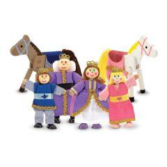 Puppenfamilie Schloss Biegepuppen 4 Puppen  2 Pferde