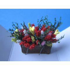Puppenhaus Blumenkasten mit bunten Frühlingsblumen Miniaturen 1:12