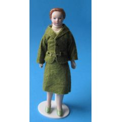 Dame im grünen Kostüm Puppe für die Puppenstube Miniatur 1:12