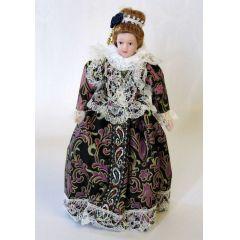 Dame Lady elegantes Kleid mit Kopfschmuck Puppe für die Puppenstube Miniaturen 1:12