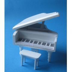 Flügel Piano Klavier mit Hocker Puppenhausmöbel Miniatur 1:12