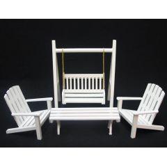 Gartenmöbel Set 4 Teile Schaukel Stuhl Tisch  Puppenhaus Möbel Miniatur 1:12
