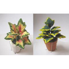 Grünpflanze Blattpflanze  im Blumentopf Puppenhaus Miniatur 1:12