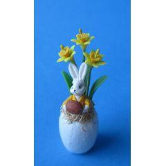 Puppenhaus Blumenvase mit Narzissen und Osterhasen Porzellan  Miniatur 1:12