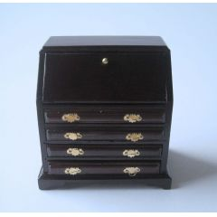 Sekretär Schreibtisch braun Puppenhaus Moebel Wohnzimmer Miniatur 1:12