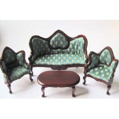 Puppenhaus Couchgarnitur Sofa, Sessel, Tisch grün Möbel Wohnzimmer Miniatur 1:12